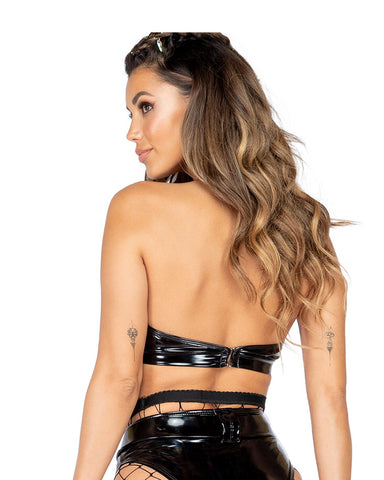 Vinyl Underboob Cutout and O Ring Detail Crop Top