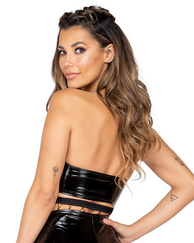 Vinyl Underboob Cutout Fitted Crop Top