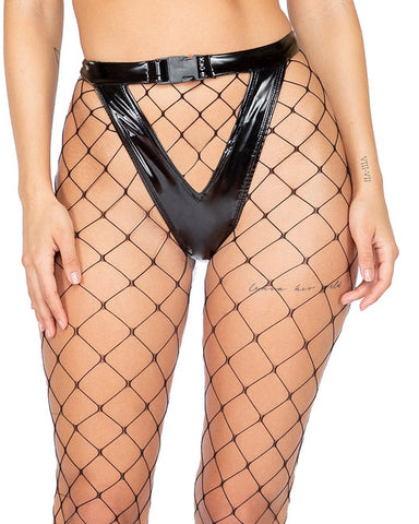 Vinyl High Rise Exposed Keyhole Shorts with Buckle