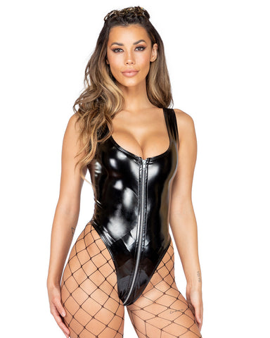 Vinyl Cheeky Bodysuit with Front Zipper