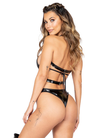 Vinyl Criss Cross Holster Bodysuit with O Ring