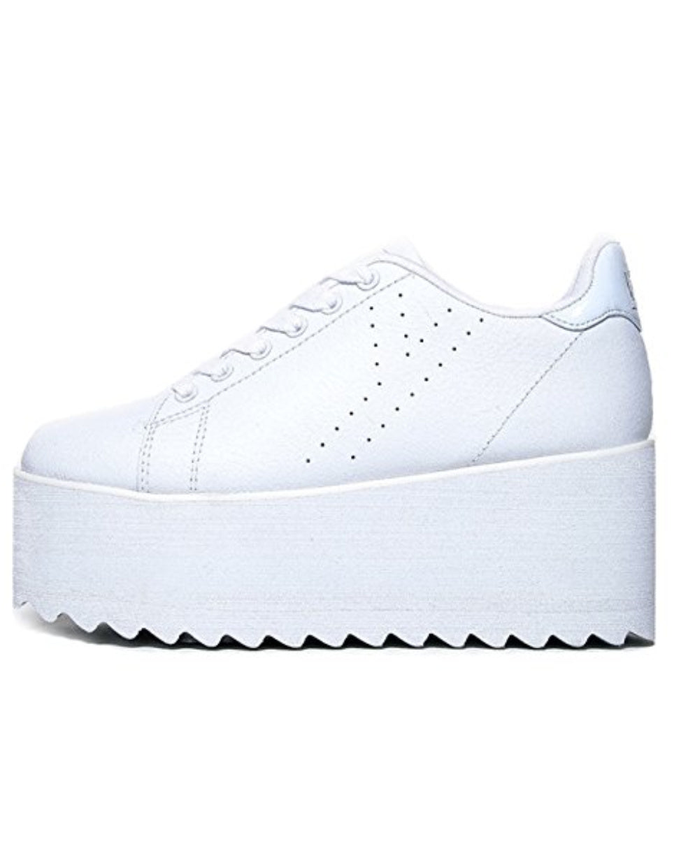 YRU Lala White Platform Rave Shoes