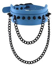 Spike Faux Leather Choker with Hanging Chains