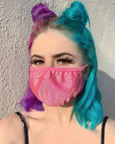 Bubblegum/Gold Sparkly Foiled Surgical Face Mask