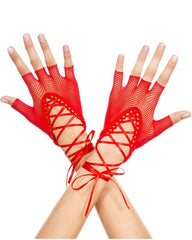 Totally Bitchin' Lace-Up Fishnet Gloves