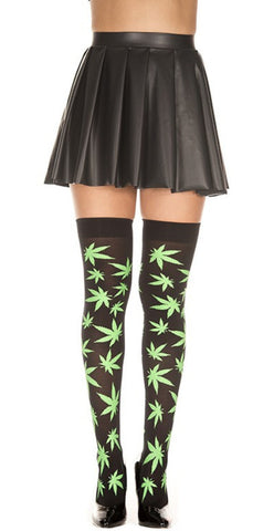 Green Marijuana Leaves Black Thigh High -  rave wear, rave outfits, edc, booty shorts
