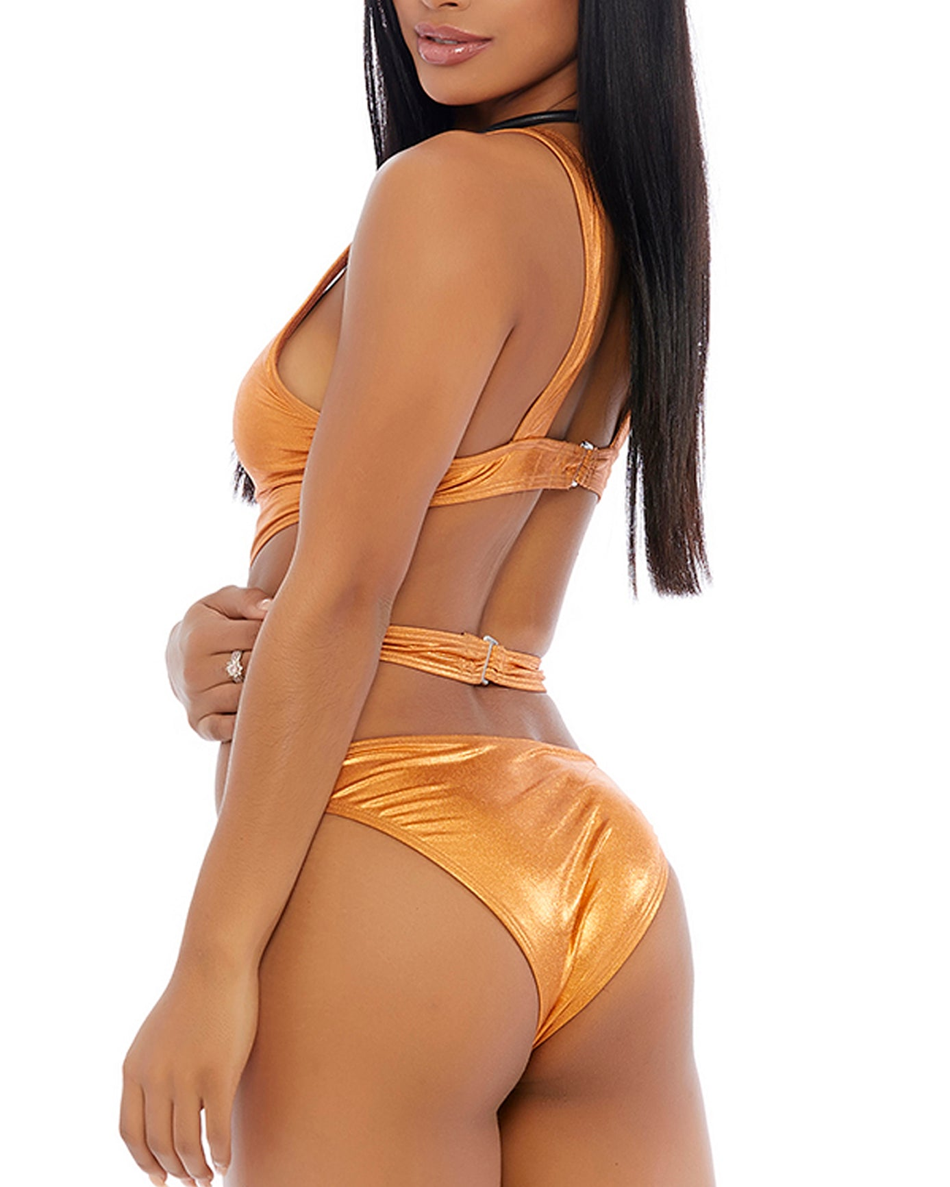 Metallic Strappy Cutout Bodyuit
