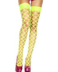 Diamond Cut Fishnet Thigh High Stocking  (Available in 4 Colors) -  rave wear, rave outfits, edc, booty shorts