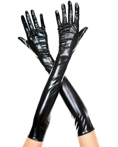 Metallic Black Long Gloves