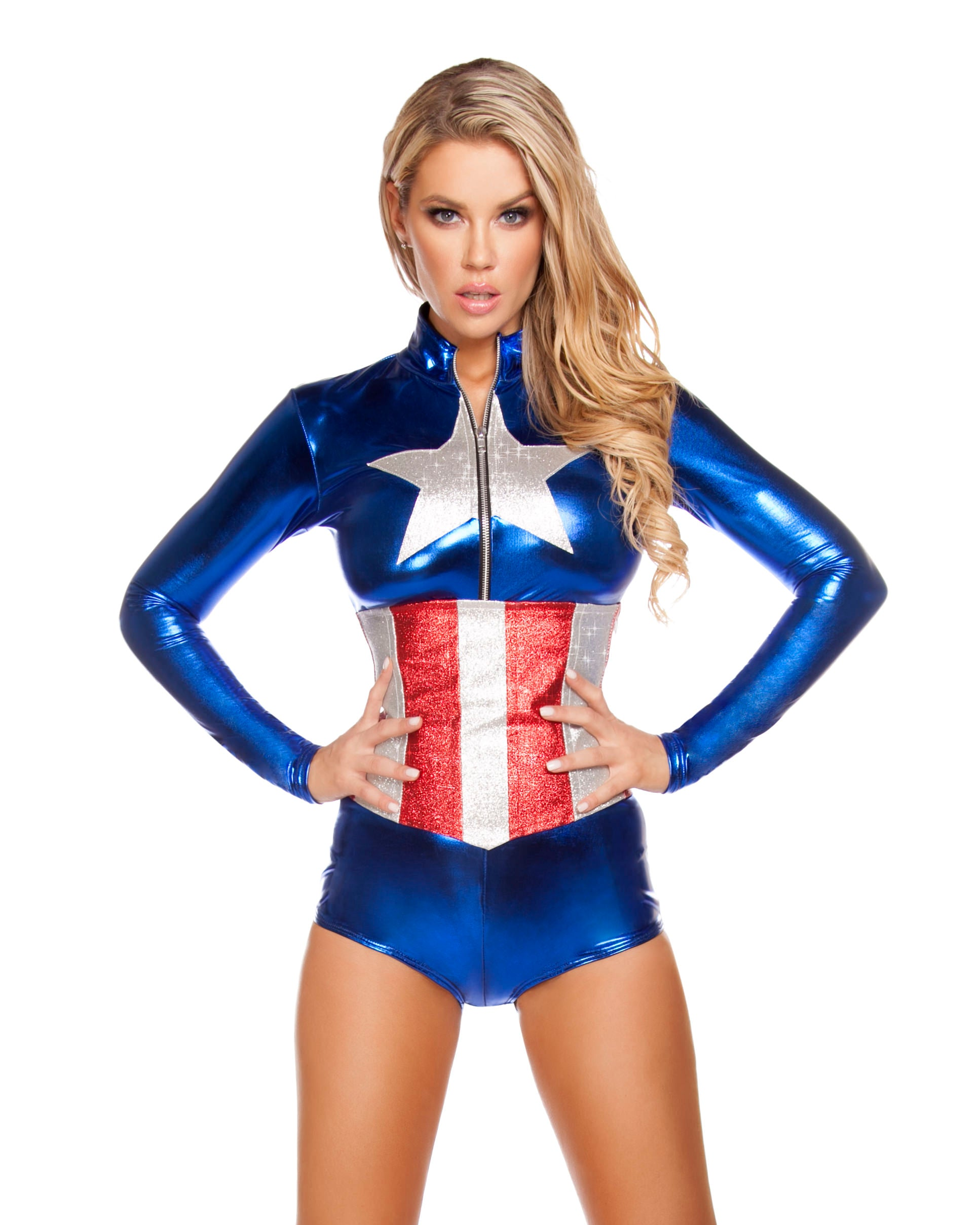 Captain America Long Sleeve Bodysuit Costume -  rave wear, rave outfits, edc, booty shorts