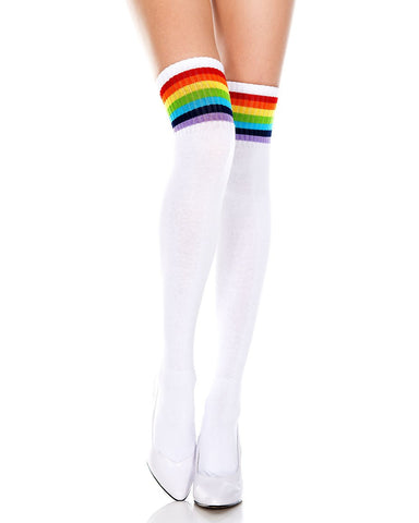 Rainbow and White Striped Thigh High Socks -  rave wear, rave outfits, edc, booty shorts