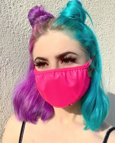 Neon Pink Vinyl Face Mask
