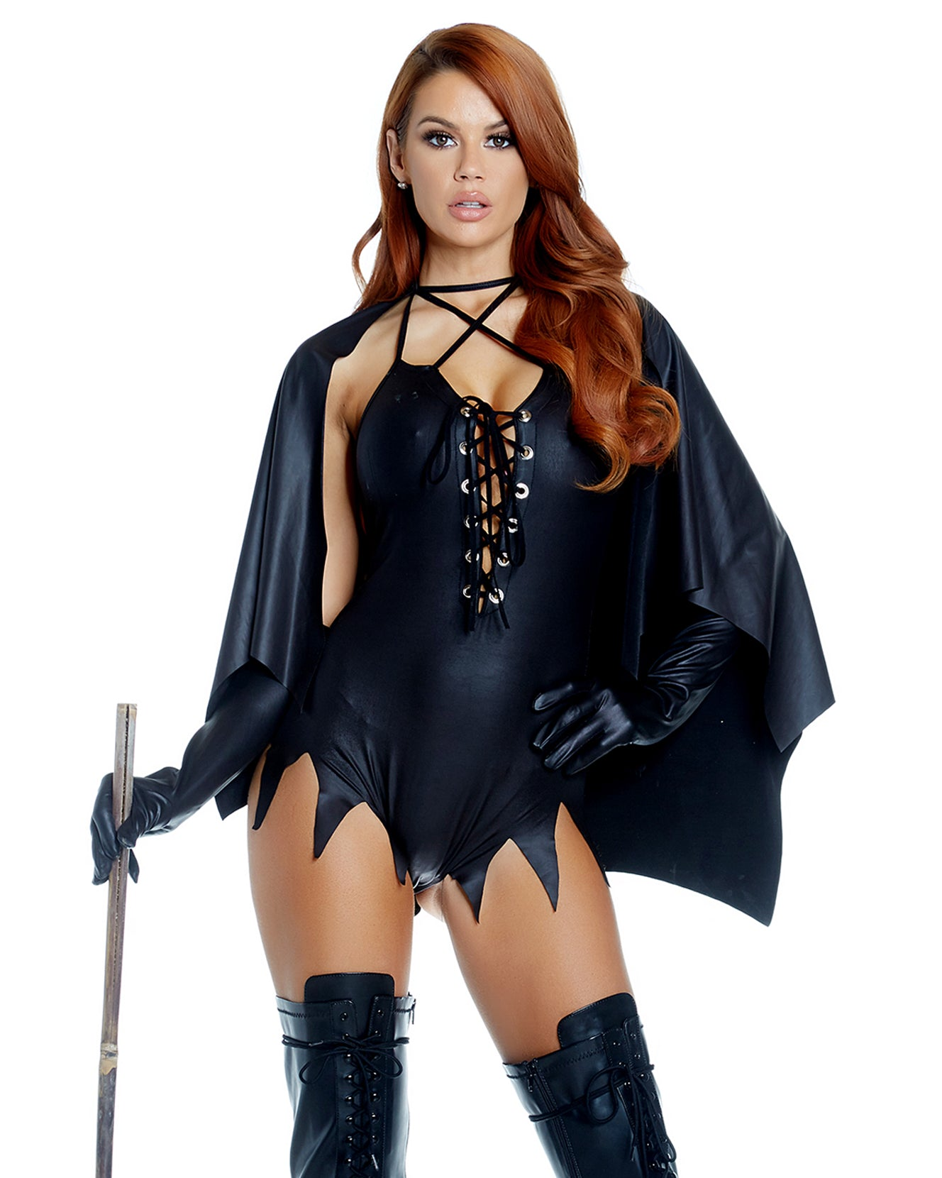 Witch, Please! Bodysuit & Cape Costume -  rave wear, rave outfits, edc, booty shorts
