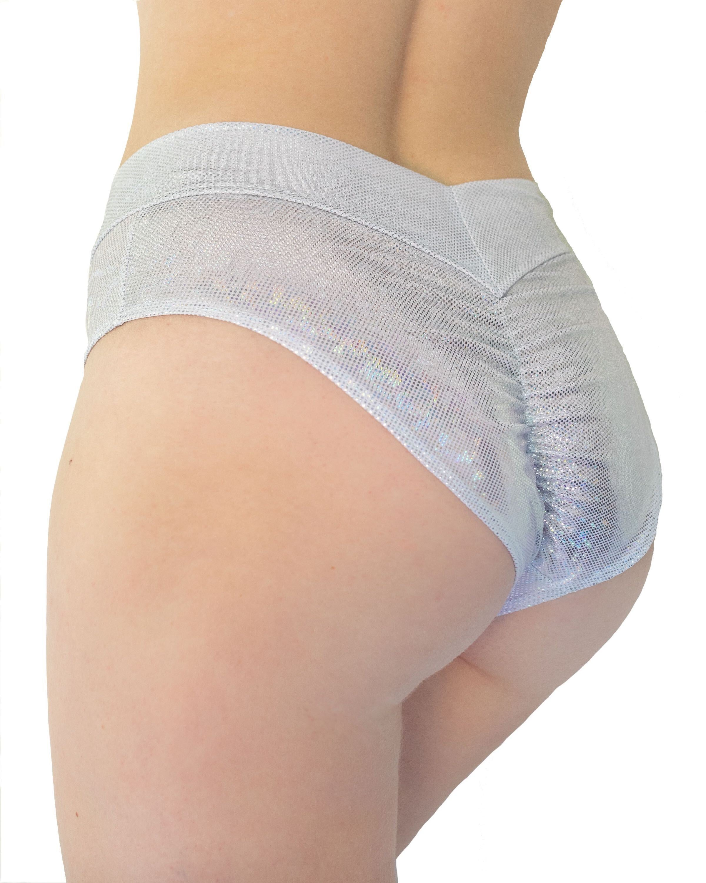 Glitz Silver Scrunch Back Booty Shorts