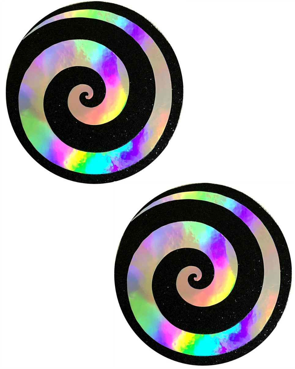 Care Bear Stare Holographic Spiral on Black Nipple Pasties -  rave wear, rave outfits, edc, booty shorts