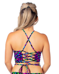 Midnight Disco Back Lace Up Rave Crop Top