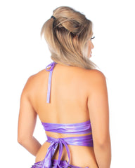 Holographic Purple Rave Wrap Around Top