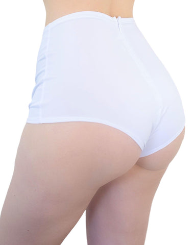 White Solid High Waist Basic Rave Shorts