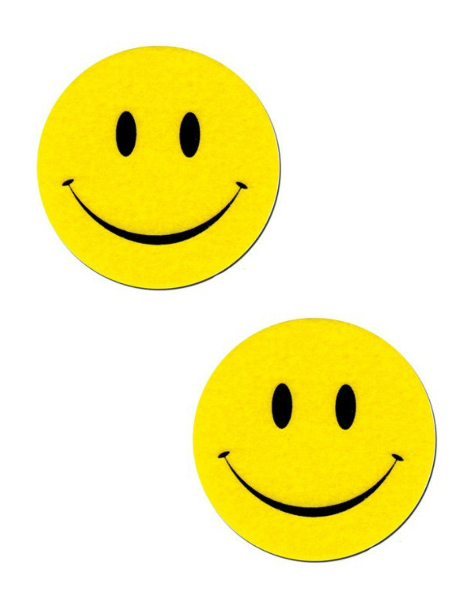 Yellow Smiley Face Pasties -  rave wear, rave outfits, edc, booty shorts