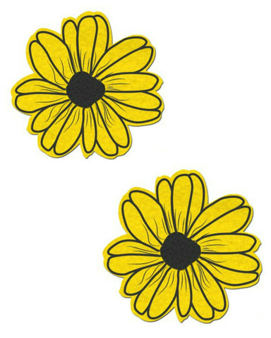 DAISY: YELLOW AND BLACK WITH BLACK FLOWER NIPPLE PASTIES -  rave wear, rave outfits, edc, booty shorts