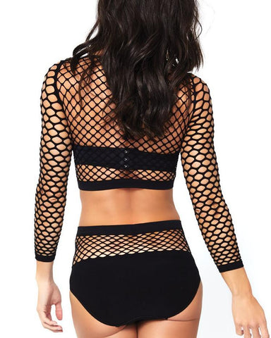 2pc Industrial Fishnet Long Sleeve Crop Top and Matching High Waist Bottoms -  rave wear, rave outfits, edc, booty shorts