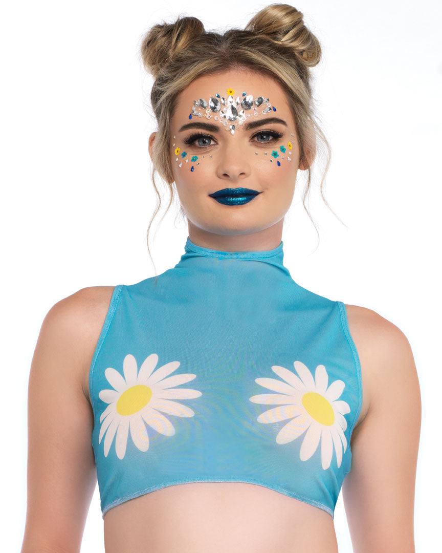 Turquoise Daisy High Neck Mesh Rave Crop Top -  rave wear, rave outfits, edc, booty shorts