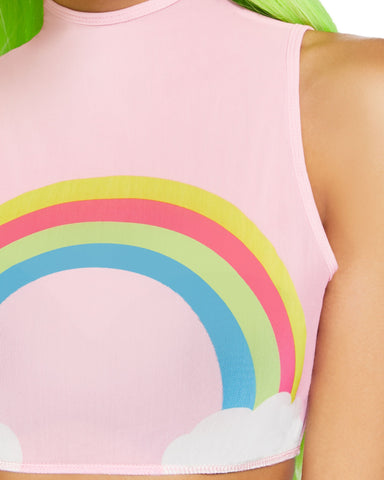 Pink Over the Rainbow High Neck Mesh Rave Crop Top