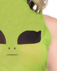 Green Alien Eyes High Neck Mesh Rave Crop Top
