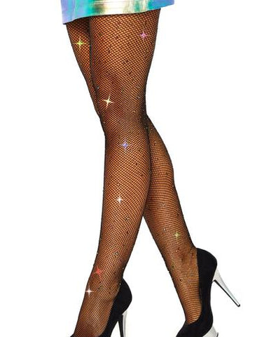 Rhinestone Net Tights