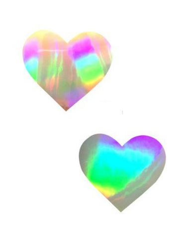 Silver Foil Ultra Holographic Heart Pasties -  rave wear, rave outfits, edc, booty shorts