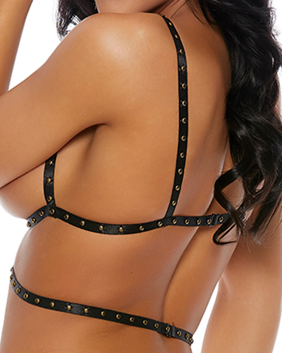 Double Take Studded O-Ring Pentagram Harness Top