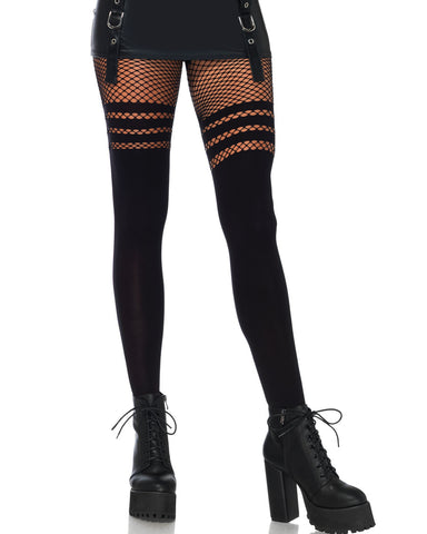 Seamless Opaque Striped Faux Thigh High