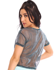 Got Ya Covered Iridescent Shimmer Sheer Fitted Tee