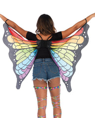Rainbow Butterfly Rave Mini Cape -  rave wear, rave outfits, edc, booty shorts