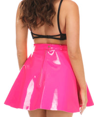 Lava Luv Hot Pink Patent Skater Skirt