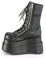 Demonia Black Mid-Calf Tiered Platform Boots