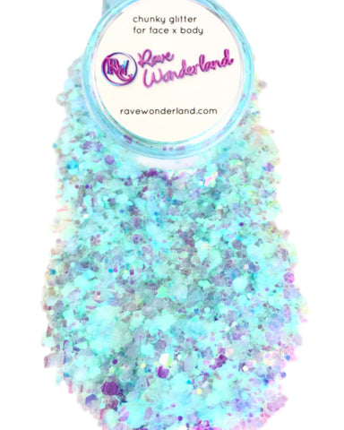 Blue Sky Action Translucent Body and Face Festival Glitter (Large 15 Grams)
