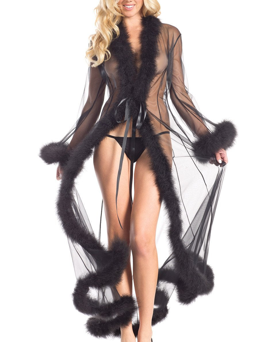 So Xxtra Xxtra Feather Trim Sheer Robe