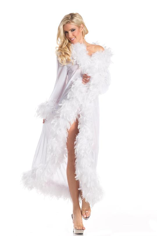 Lux Doll Sheer Long Robe With Boa Feather Trim