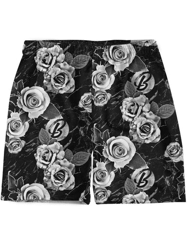 B&W Floral Weekend Shorts -  rave wear, rave outfits, edc, booty shorts