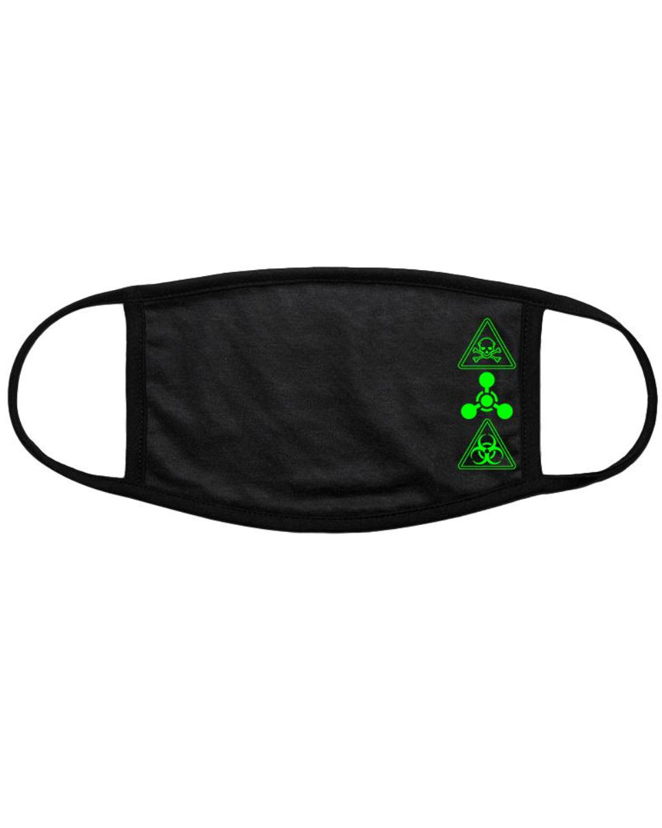 Neon Green Toxic Black Cotton Cloth Face Mask