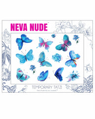 Blue Butterfly Kisses Giant Temporary Tattoo Pack