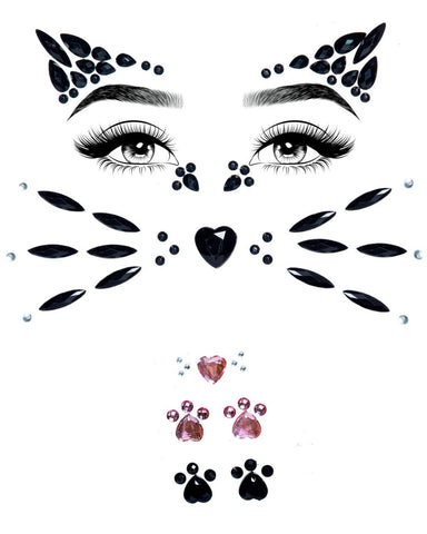 Meow Kitty Bunny Adhesive Face Jewels Sticker