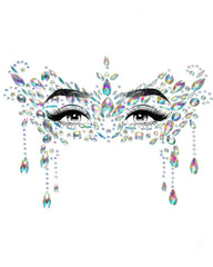 Diamond Masquerade Adhesive Face Jewels Sticker - Silver
