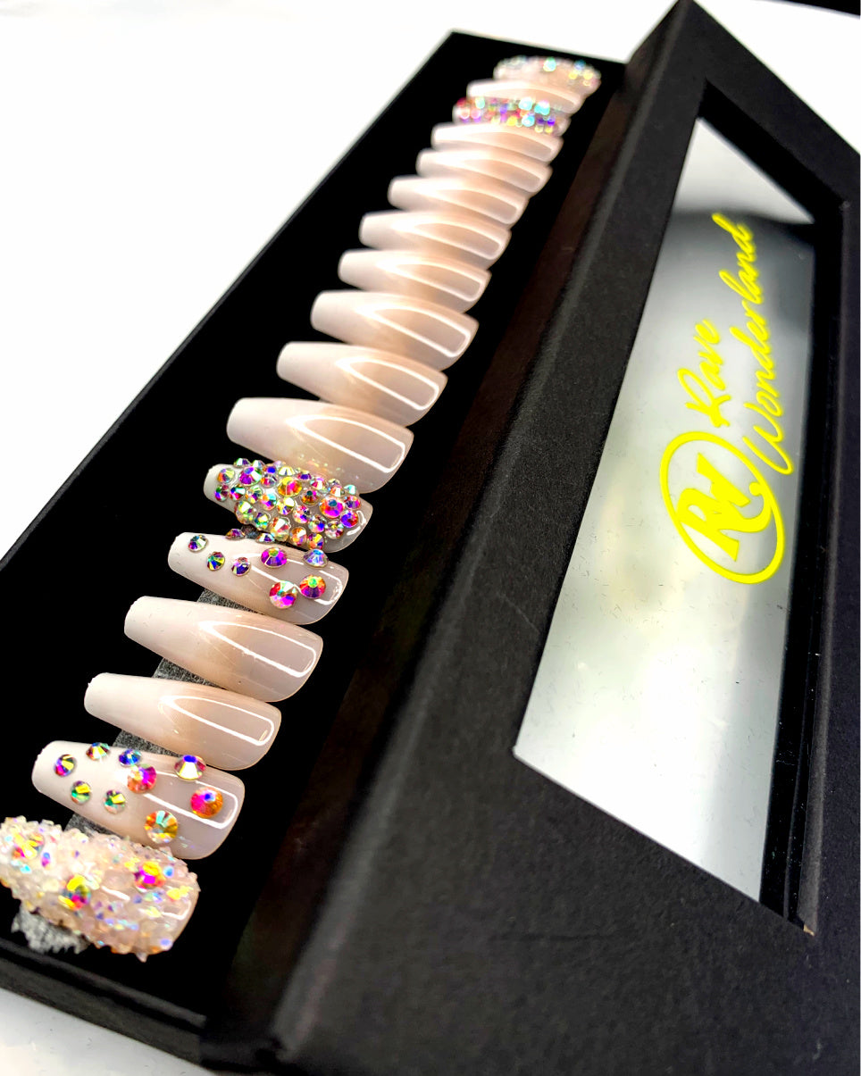 24pc Poppin' Bubbly Nude Press-on Nails w Adhesive