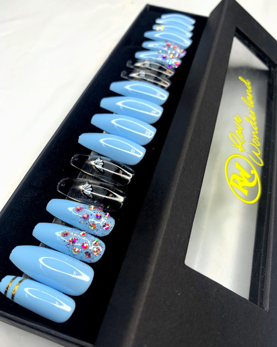 24pc Butterfly Sky Blue Press-on Nails w Adhesive