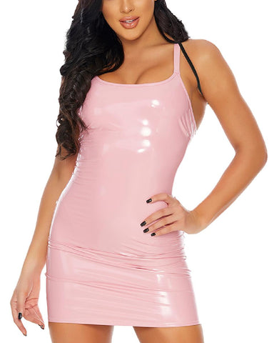 Bubblegum Pink Vinyl Strap Dress