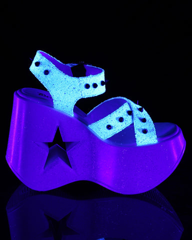 "Demonia 5"" Star Cutout Platform Wedge - White Blacklight"