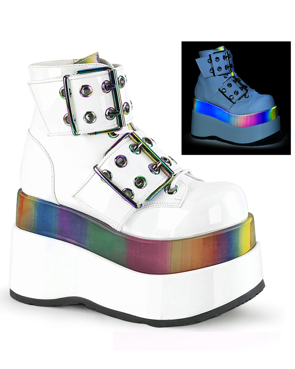 "Demonia 4.5"" Holographic Rainbow White Tiered Platform Boot"