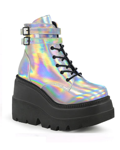 "Demonia 4.5"" Holographic Silver Stacked Wedge Platform"